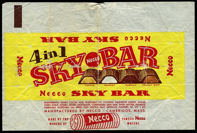 Necco - Sky Bar candy wrapper 1950's 1960's by JasonLiebig, via Flickr( Necco wafer sky bar necco wafer sky bar)