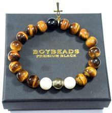 """Pluto"" BOYBEADS tiger eye, mother of pearl, onyx ankh custom mens bead bracelet"