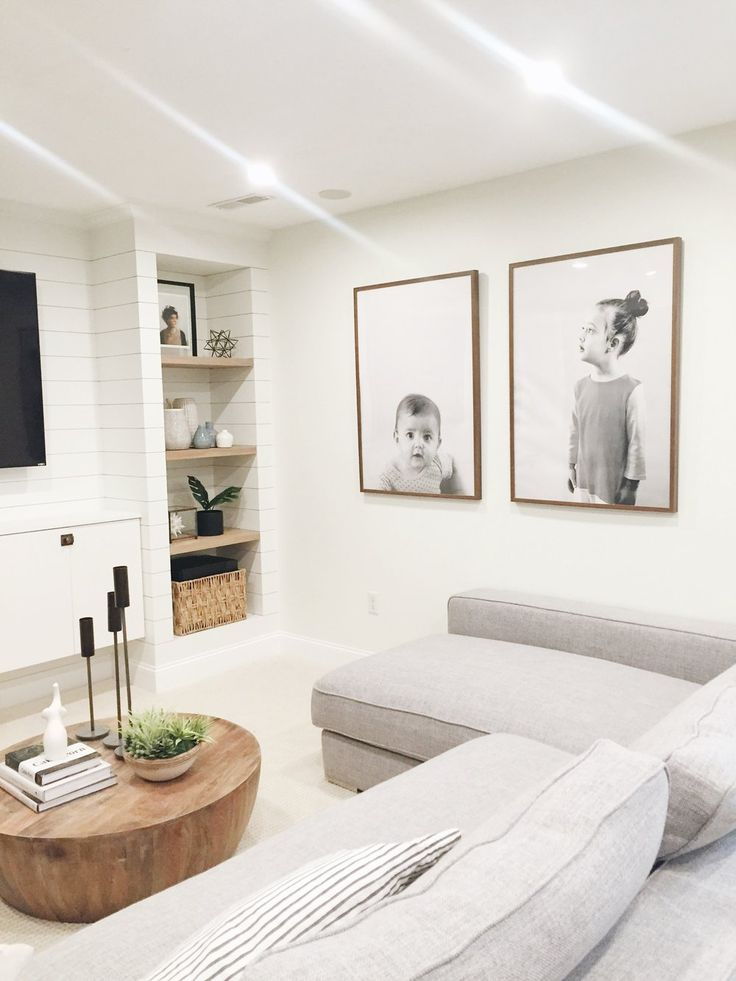 Studio McGee   Our Favorite Ways to Incorporate Family Photos - Add oversized black and white photos of family in a great room space or family room for a playful twist on the family photo.