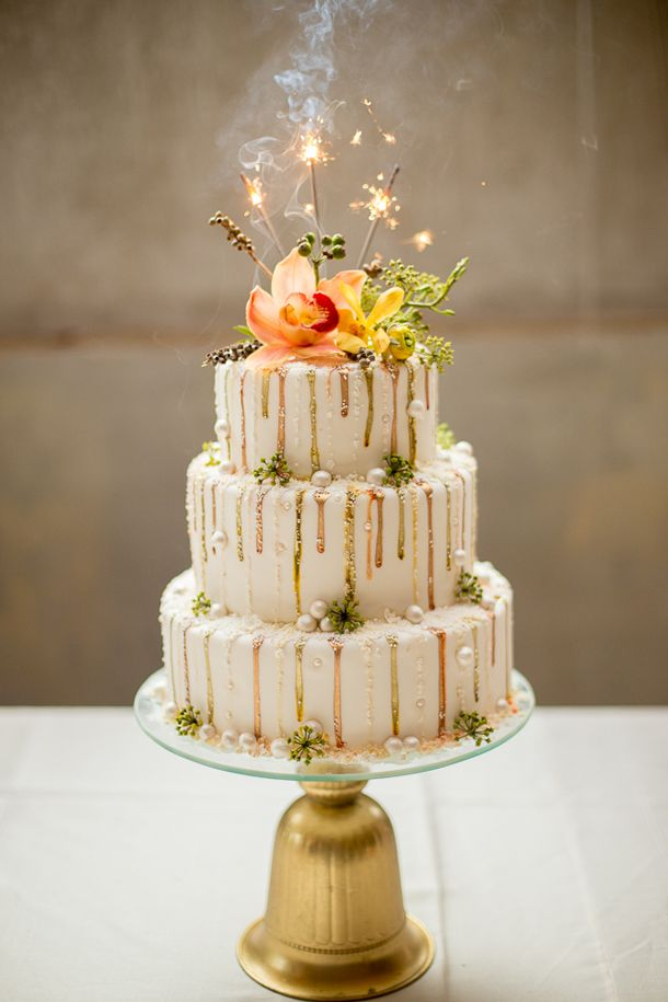 Wedding cake with metallic drip detail | SouthBound Bride | http://www.southboundbride.com/harvest-brights-wedding-inspiration-by-leipzig-nicola-bester | Credit: Nicola Bester