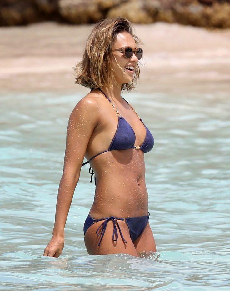 Jessica Alba in bikini at a beach in the Caribbean