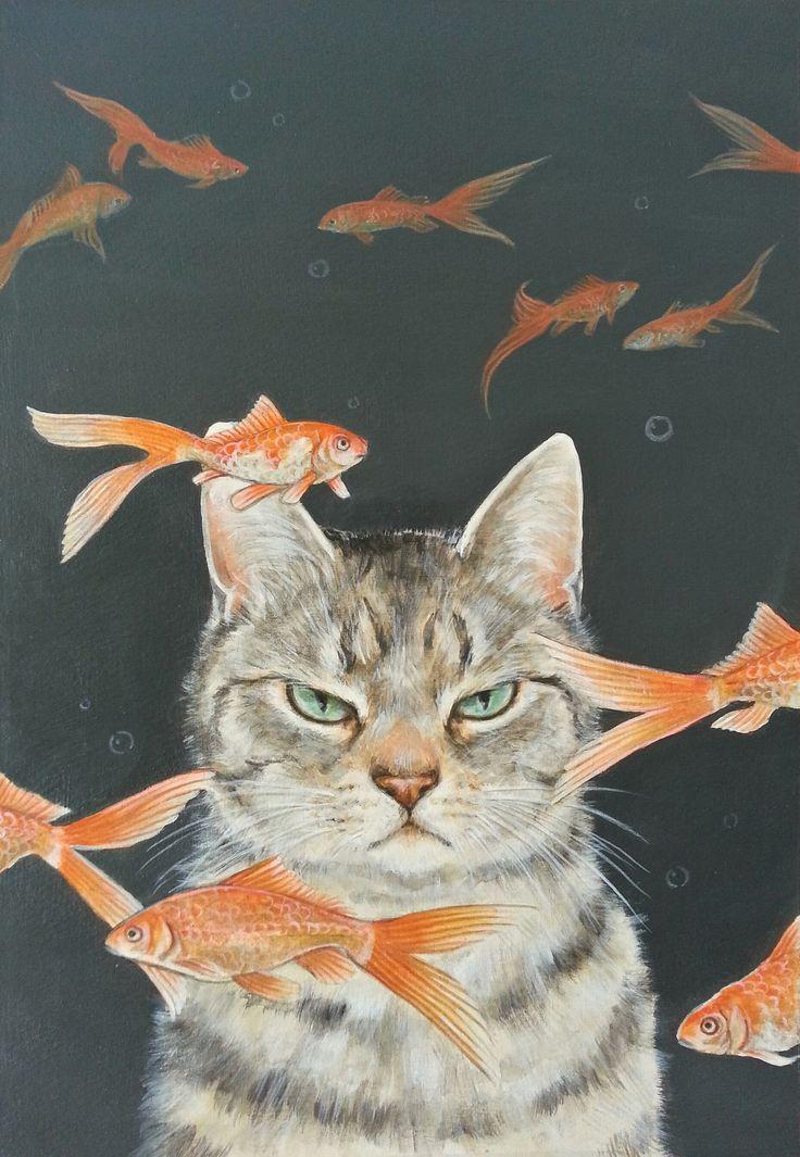おちょぴ | 金魚と猫 | thisisgallery | 好きなアーティストが見つかるアート購入・販売サイト