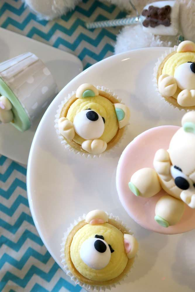 Check out the adorable cup cakes at this teddy bear birthday party!! See more party ideas and share yours at CatchMyParty.com #teddy #cupcakes