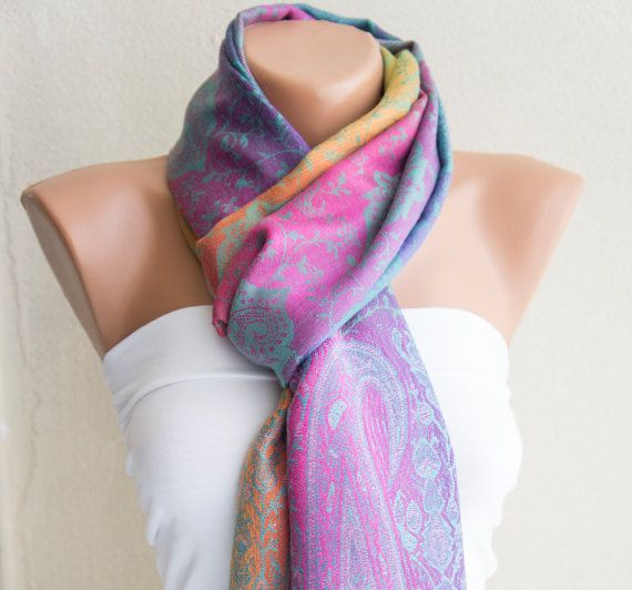 Pashmina Scarf Colorful Shawl Mother's Day by ModernScarfPoint