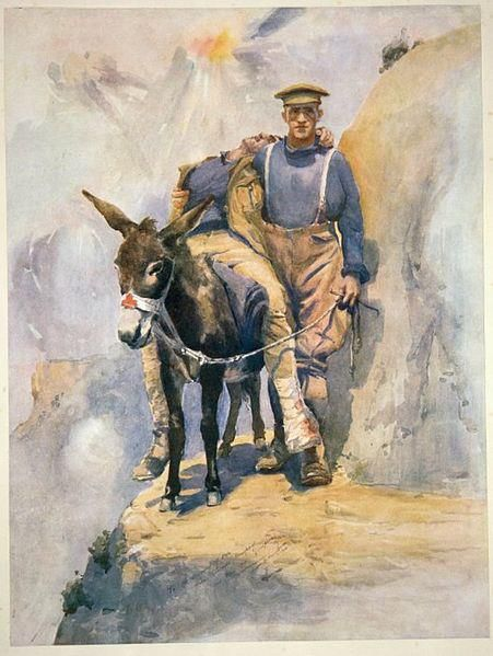 Moore-Jones, Horace Millichamp 'To the memory of our hero comrade 'Murphy' (Simpson) killed May 1915. Heroes of the Red Cross. Private Simpson, D.C.M., & his donkey at Anzac' Watercolour