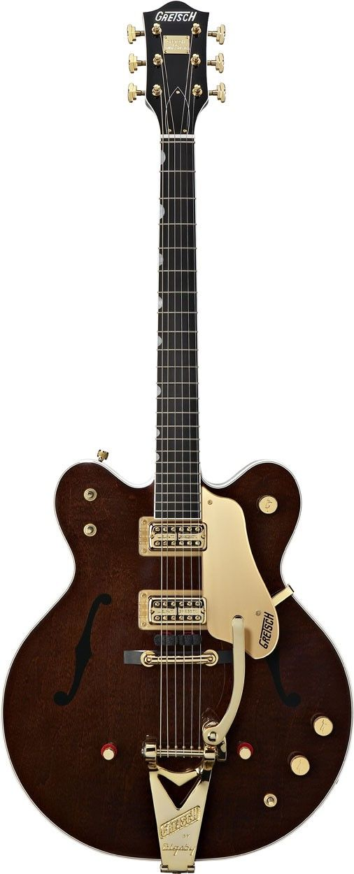 "Gretsch Country Gentleman:  For years my favourite electric, it has full, rich tone at all notes, all along the neck; full, mellow base; yet piercing blues and ""Southern Rock"" lead.  Chet Atkins, Eddie Cochran, Duane Eddy, Eric Clapton, George Harrison, and many more have chosen Gretsch for those and other reasons, not the least of which is superb craftsmanship, comparable to Martin."