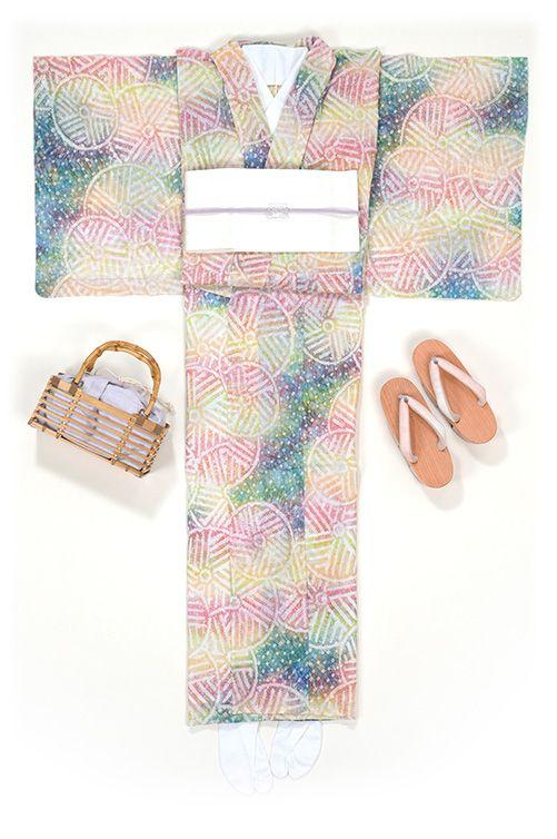 Yukata Kimono / 有松鳴海絞り浴衣 糸巻き(グリーン・黄色・ピンク)