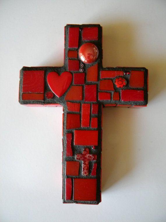 Little Red Heart Mosaic Cross
