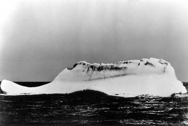 This is believed to be the iceberg that sank the Titanic on April 14-15, 1912. The photograph was taken from the deck of the Western Union Cable Ship, Mackay Bennett, commanded by Captain DeCarteret. The Mackay Bennett was one of the first ships to reach the scene of the Titanic disaster. According to Captain DeCarteret, this was the only berg at the scene of the sinking when he arrived, it also had a smear of red paint over it.