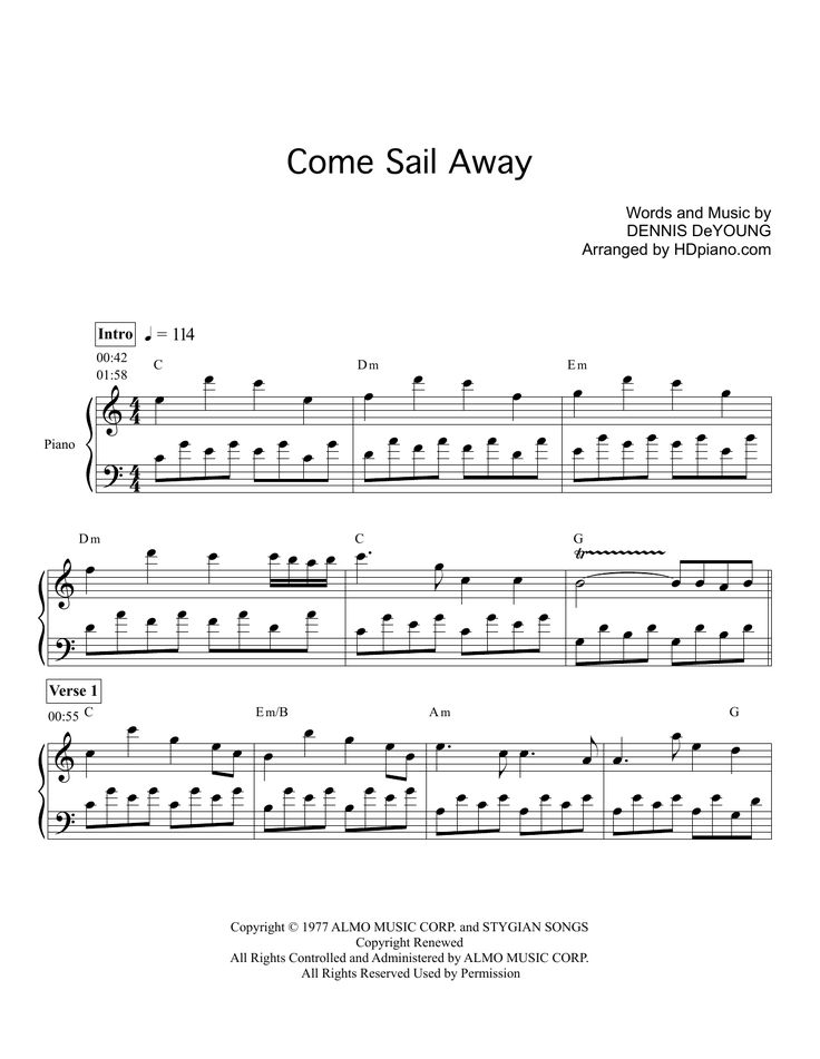 Download HDpiano sheet music to Come Sail Away by Styx and print it instantly from Sheet Music Direct.