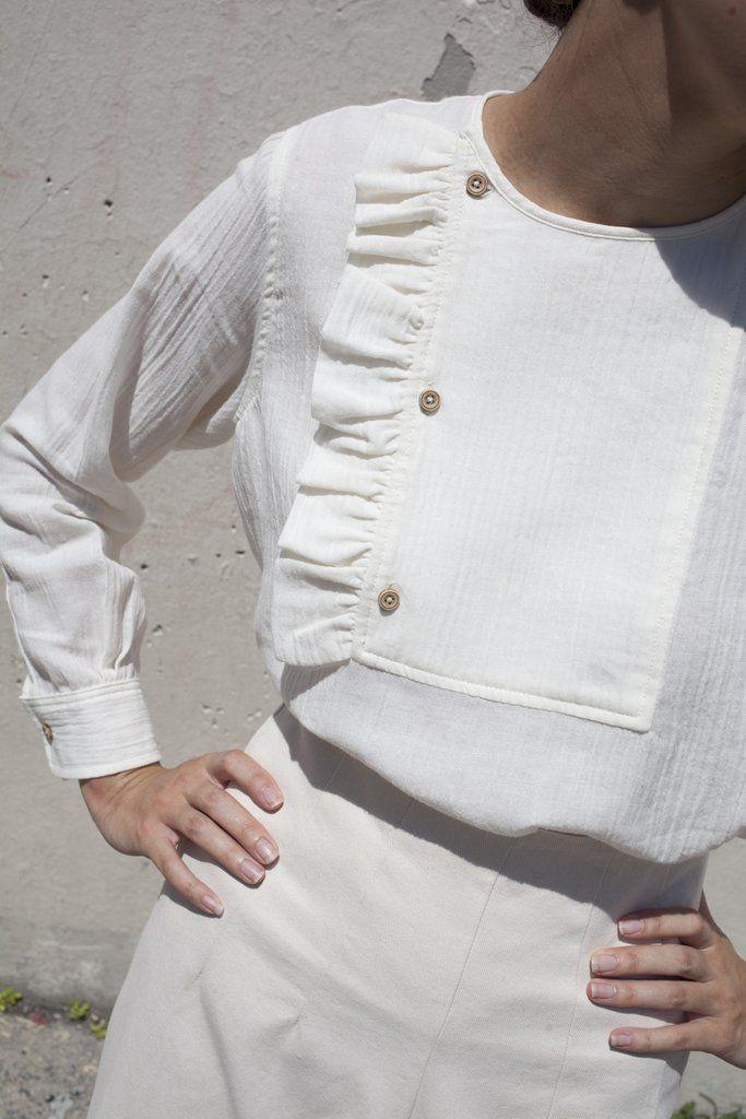 Caron Callahan Rosie Ruffle Top in Ivory Wool Cotton Gauze | Oroboro Store | Brooklyn, New York