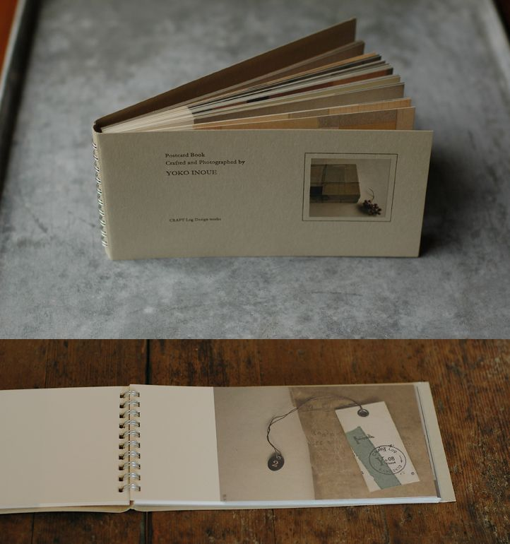 (M.O) Simple book which could be bound with a wire bind or alternatively stitch bound? The middle sections could be made and the prints slotted into them for display... (photography postcard book . yoko inque)