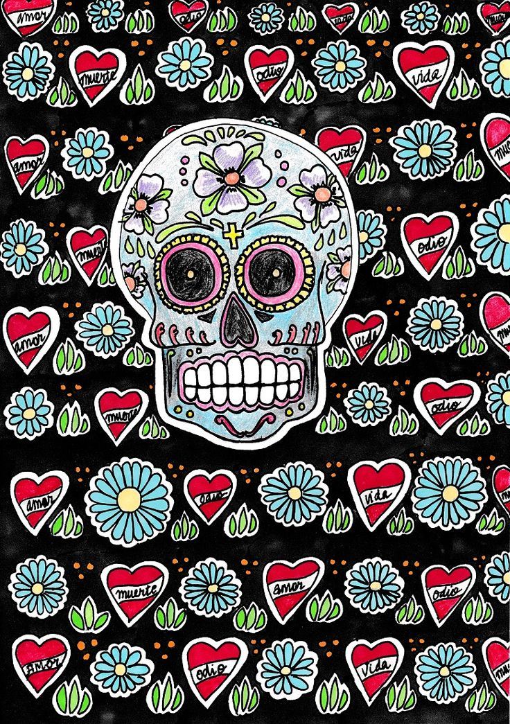 """A4 illustration of a skull, titled Calavera, inspired by the Mexican Día de los Muertos (Day of the Dead) celebrations. The skull is decorated with flowers and a crucifix, using colouring pencils and fine liner pen. The background is made up of hearts (containing the words """"amor, odio, vida, muerte"""" [love, hate, life, death]) and flowers, which were coloured using promarkers. #illustration #drawing #art #artwork #skull"""