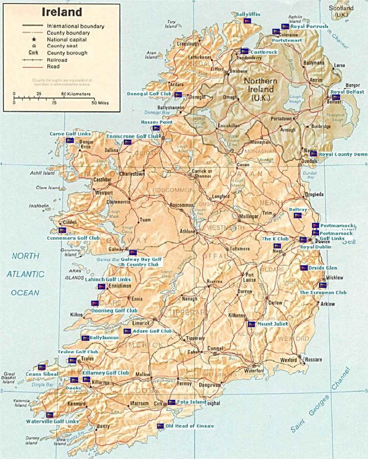 Map of Ireland Golf Courses Ireland map, Southern