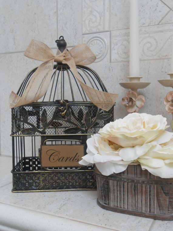 Rustic Birdcage Wedding Card Holder Birdcage by TheLaceMoon