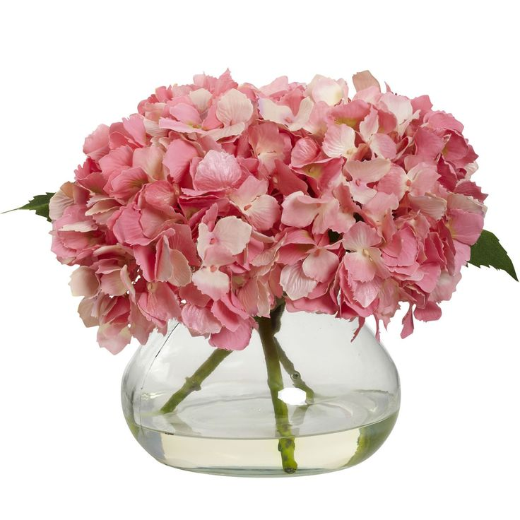 Pretty Pink hydrangea is so lovely. Our petite silk faux floral arrangement is…
