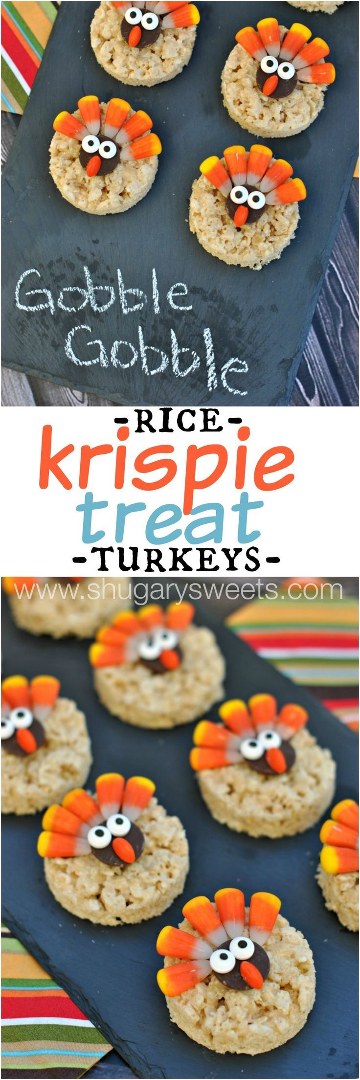 Turkey Rice Krispie Treats decorated for Thanksgiving! Easy dessert that kids can help make!