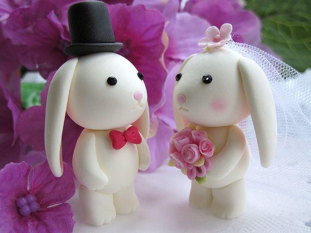 lovely rabbits cake topper by kikuike, via Flickr