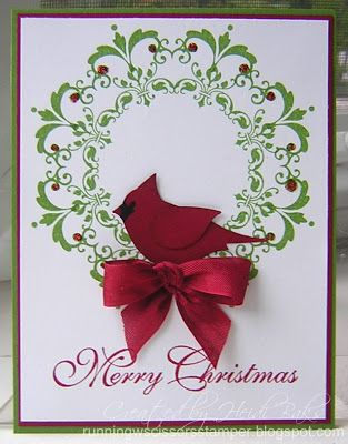 "handmade card by RunningwScissorsStamper ...wreath stamped with Daydream Medallions ... perfect red bow with two-step bird dressed as a cardinal ... like the script for ""Merry Christmas"""
