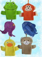 baby bad handschoen/babybadje handpop/kinderen bad mitt ICTI, kikker aap octopus walvis eend beer