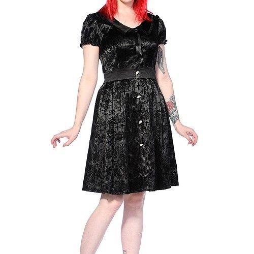 Ivy Cross korte jurk met corset lint detail zwart - Gothic Lolita