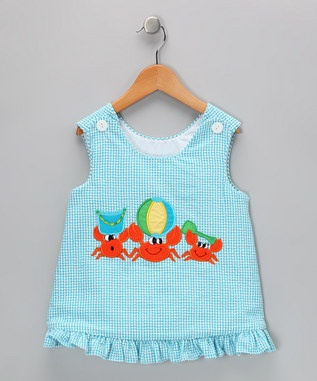 #zulily wish upon a star blue seersucker beach crab jumper