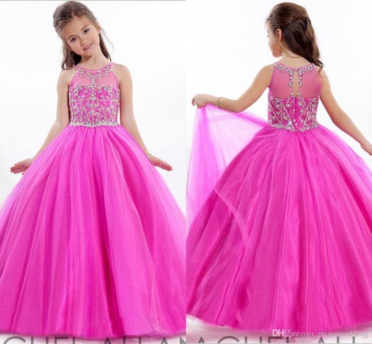 Lovely Princess Ball Gown Flower Girls Dresses Crew Floor Length ...