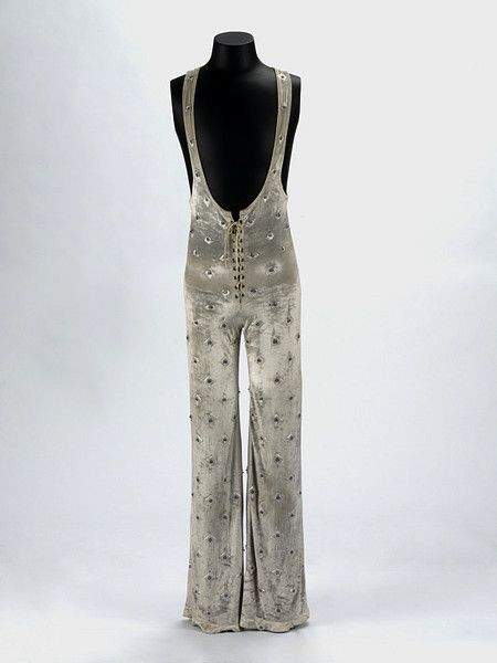 Mick Jagger jump suit .Velvet, lycra, perspex and metal by Ossie Clark 1972