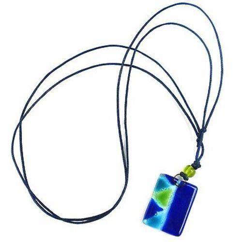 Blue Zig-Zag Fused Glass Pendant Necklace - Tili Glass