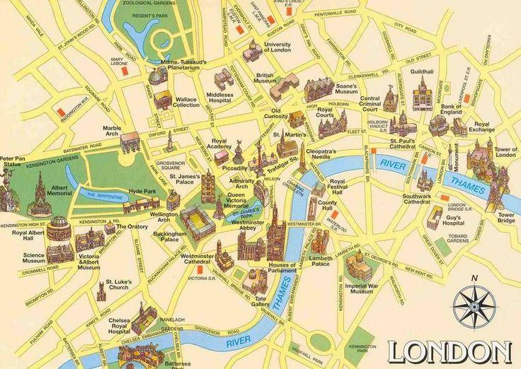 Carte de Londres : Plan touristique Monuments de Londres
