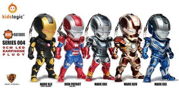 Kids Nations Series 004 LED EARPHONE PLUGY Iron Man 3 Figure Keychain #KidsNations #Anime