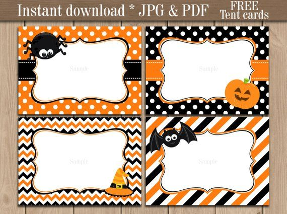 Items similar to Witch Halloween Party Tent Cards, Food ... |Halloween Party Food Labels