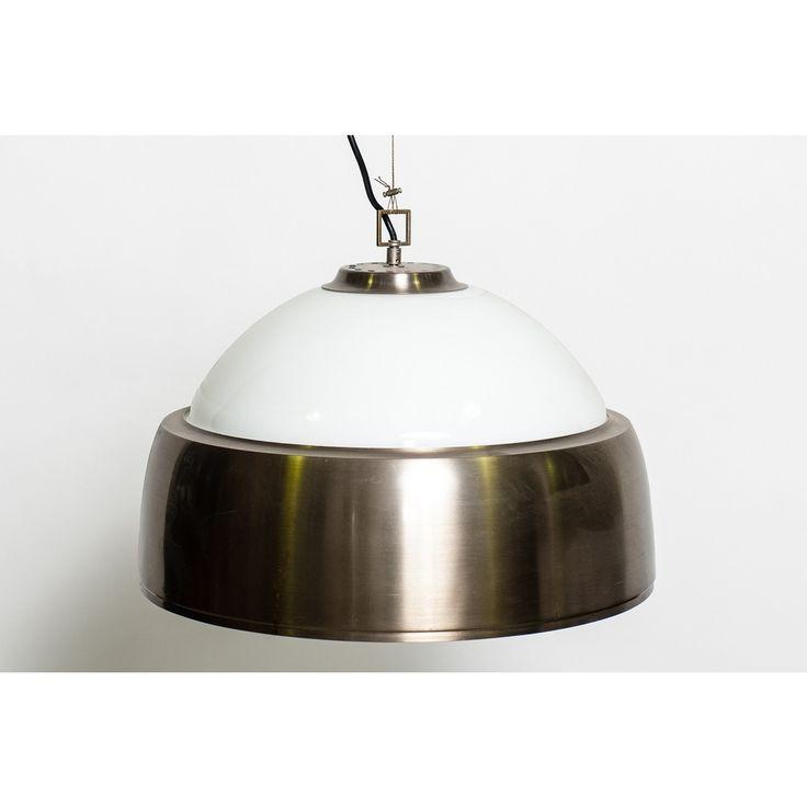 Lampadario designer Sergio Mazza produttore Artemide - Italia anni 60 colori bianco metallo satinato in vetro opalino e metallo