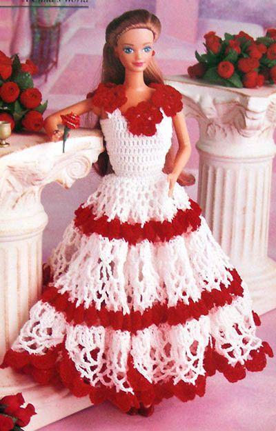 vintage valentine crochet   Valentine 11-1/2 Barbie Doll Dress Single Crochet Pattern Build Your ...
