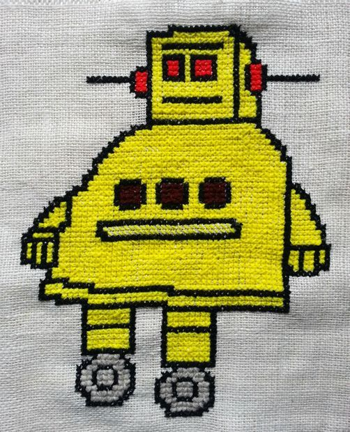 Counted Cross-Stitched Instructables Robot #needlecraft