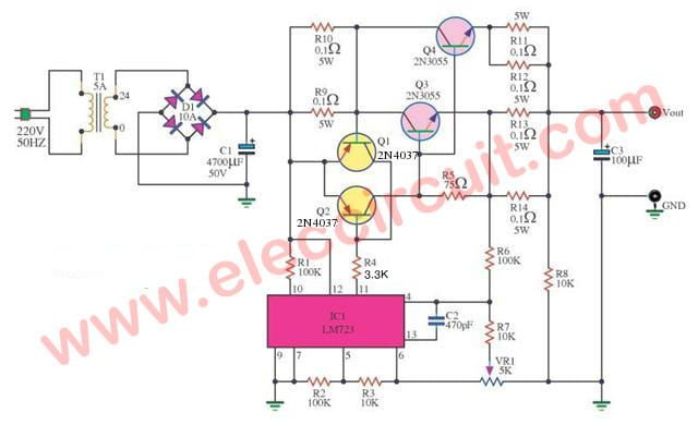 0 30v 0 5a Regulated Variable Power Supply Circuit Eleccircuit Com Power Supply Circuit Circuit Diagram Power Supply Design
