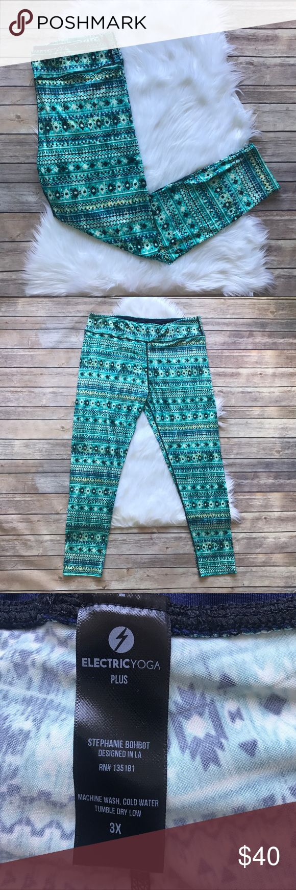 Electric Yoga Tribal Print Leggings Bold tribal print leggings by Electric Yoga. Easy, comfortable, and breathable. Brand new, comes without tags. 96% polyester 4% spandex.   ⭐️no trades⭐️  ⭐️I'm open to offers and I ALWAYS send a counteroffer⭐️  ⭐️bundle and save 10% off two or more items⭐️ Electric Yoga Pants Leggings
