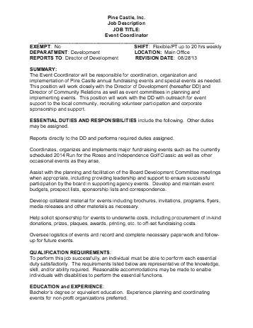 Event Coordinator Job Description - Pine Castle
