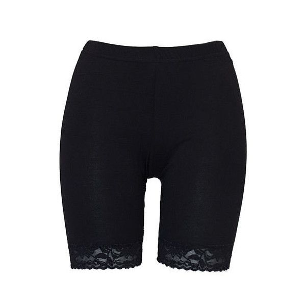 Womens Cycle Shorts Ladies Cycling Crop Lace Trim Shorts Black Size 12... ❤ liked on Polyvore featuring shorts and bottoms