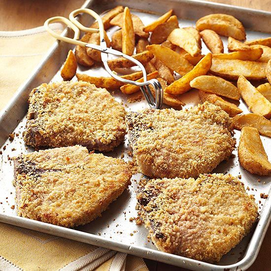 In this recipe, pork loin chops are breaded and baked for scrumptious fried flavor without the added fat and calories.
