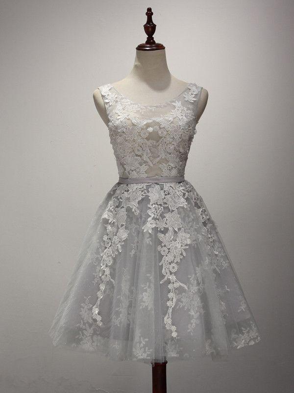 Short Dove Gray Lace Cocktail Dress
