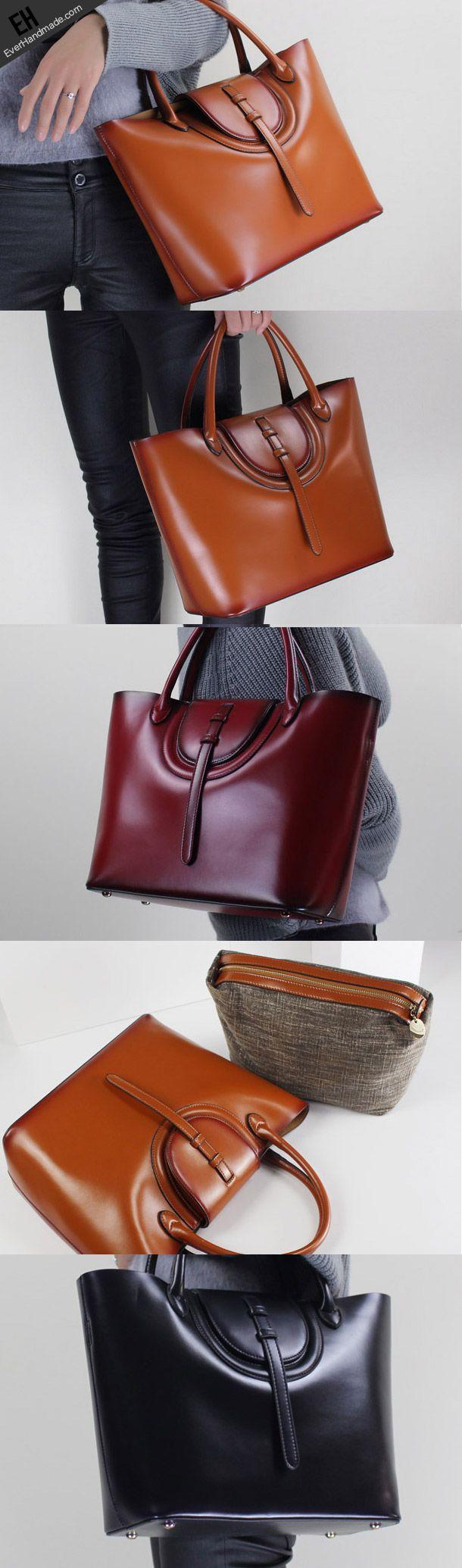 Leather handbag shoulder bag brown black Gray Red for women