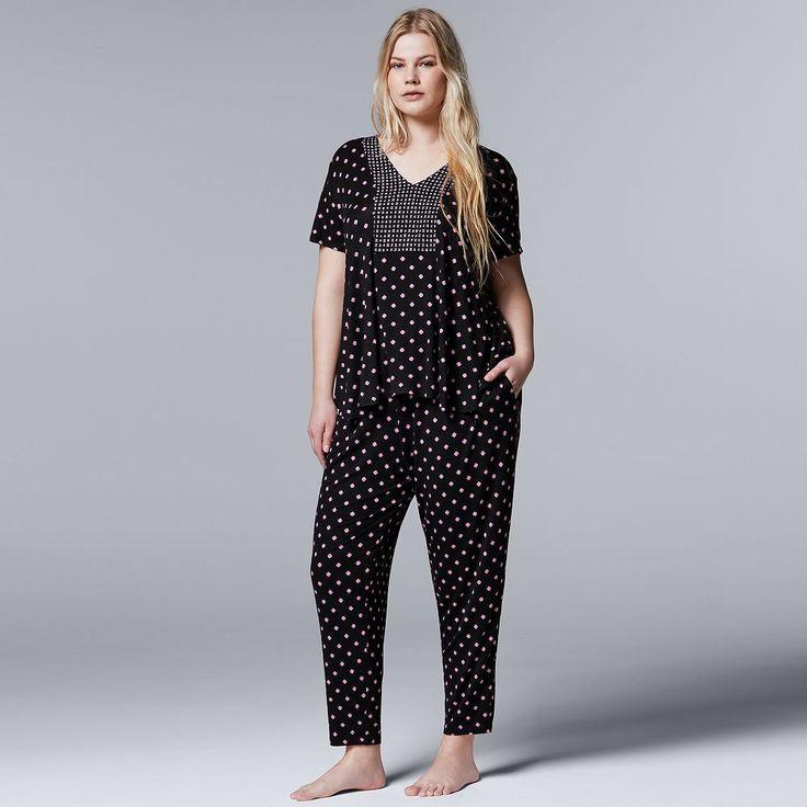 Plus Size Simply Vera Vera Wang Pajamas: Evening Oasis Short Sleeve Top & Pants PJ Set, Women's, Size: 3XL, Grey (Charcoal)