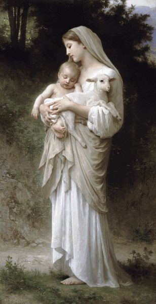 Mother Mary carrying the Baby Christ and a lamb representing the people who Christ will eventually be Shepard to.