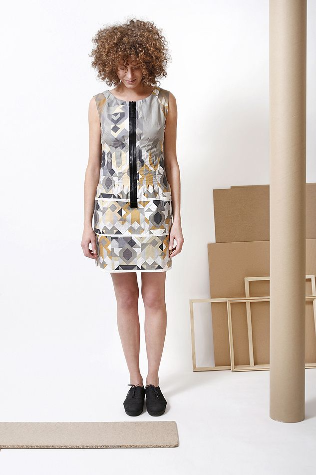 Linen dress with with unique geometric graphics prints, from the 2014 S/S collection. Every piece and size is unique.