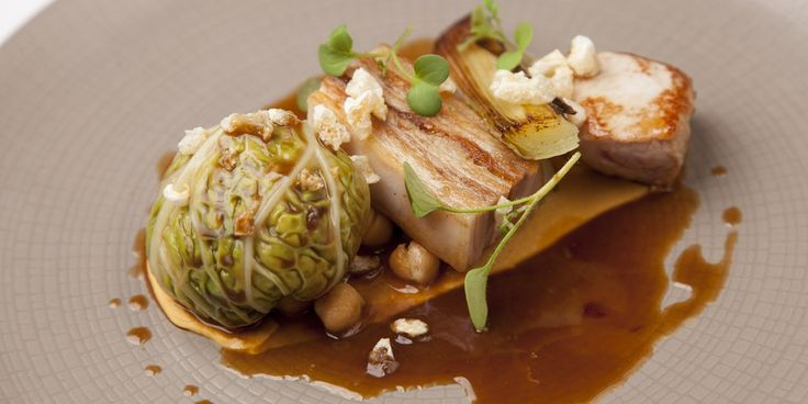 Colin McGurran uses three different cuts of suckling pig in this fabulous pork recipe – the chou farci is stuffed with minced leg, while the belly and loin are cooked sous vide for a beautifully tender finish.