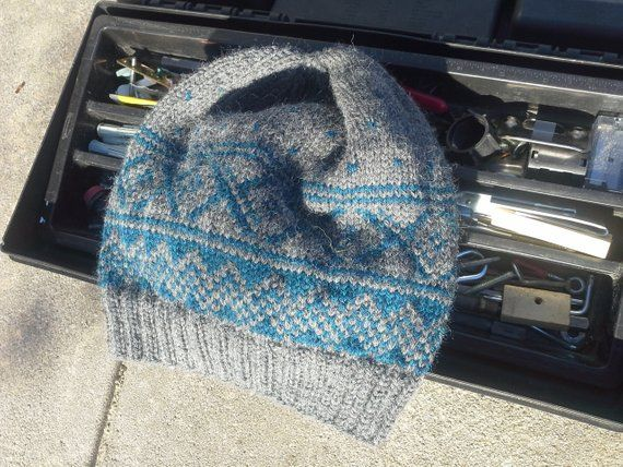 Alpaca Man Nordic Hat - Hand Knit Gray Blue Wool Viking Beanie Winter  Hiking Skiing Snowboarding Skully (Ready to Ship)  45 519cf3b77cf5