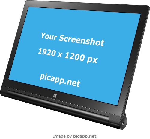 You can place your own screenshot on this Lenovo Yoga tablet easy and fast and you don't need technical skills. How? Using this online tool: Picapp.net.  And then you can download your work in computer for free!  #lenovoYoga2 #nobackground #mockup #lenovo #yoga2