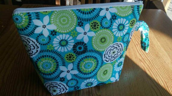 Knitting Project Bag  Teal Floral by thingsbylengleng on Etsy