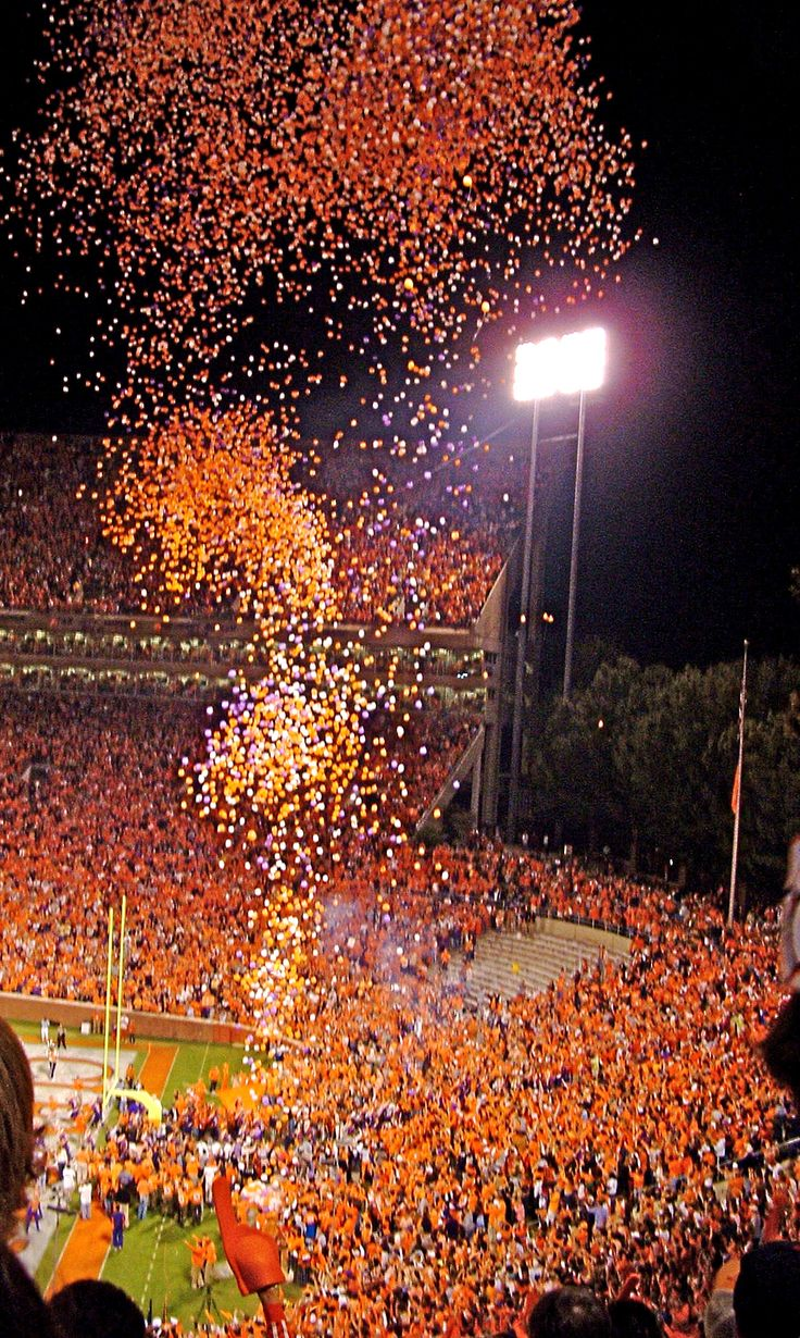 Orange balloons at a home game for Clemson University in South Carolina